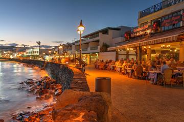 Night scene in Playa Blanca, Lanzarote, Canary Islands, Spain on April 23, 2014