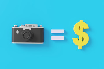 Camera and dollar sign with sell image concept. 3D rendering.