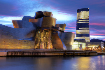 Detail of the Guggenheim Museum in Bilbao, Spain on the night of December 15, 2011