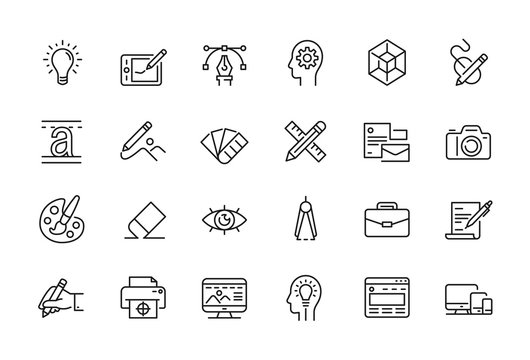Minimal Graphic Design related icon set