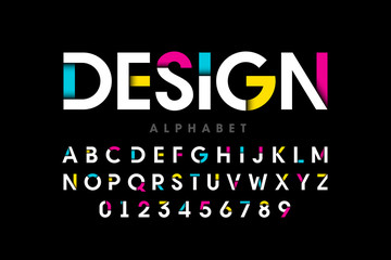 Modern bright colorful font, alphabet letters and numbers