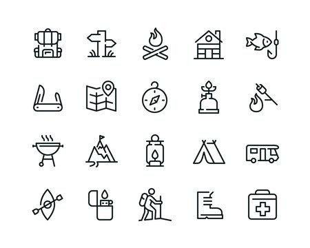 Minimal camping icon set - Editable stroke