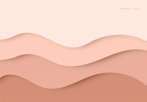Beige Modern, minimalistic paper art cartoon abstract and white water waves. Realistic trendy color, craft style. Origami design template vector illustration