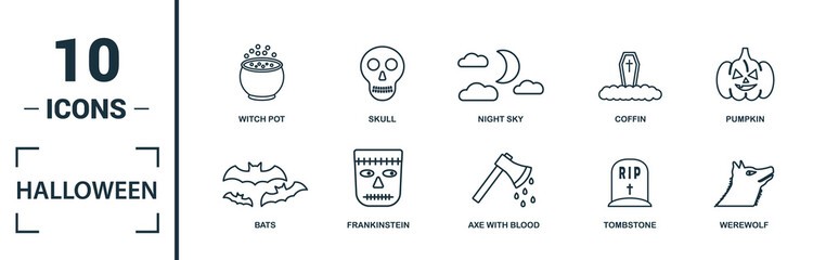 Halloween icon set. Include creative elements skeleton, coffin, skull, bats, vampire icons. Can be used for report, presentation, diagram, web design