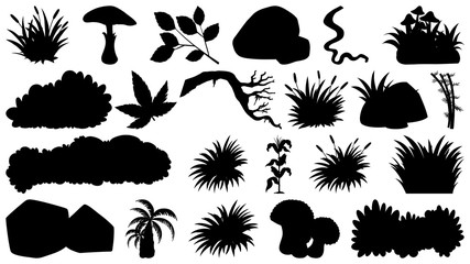 Set of sihouette isolated objects theme - plants