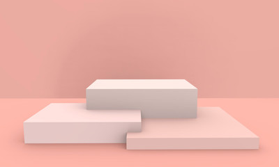 3d rendered - peach pink color podium product display mockup