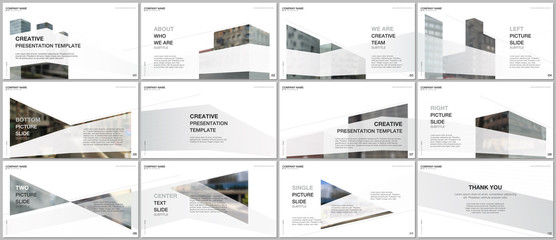 Presentations design, portfolio vector templates with architecture design. Abstract modern architectural background. Multipurpose template for presentation slide, flyer leaflet, brochure cover, report