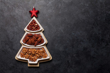 Christmas card with various nuts