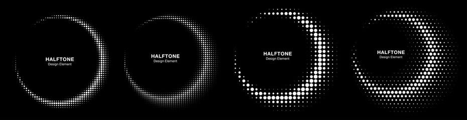 Wall Mural - Halftone dots circle frame abstract dots logo emblem design element set. Half moon. Round border Icon using halftone circle dotted raster texture on black background. Vector collection.