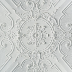 Decorative White Baroque Style Plaster Ceiling