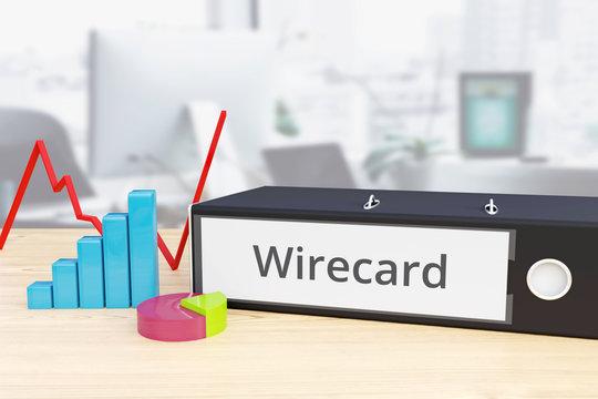 Wirecard – Analyse, Statistik. Ordner auf Schreibtisch mit Beschriftung neben Diagrammen. Finanzen/Wirtschaft