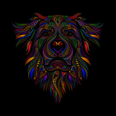 Photo sur Aluminium Style Boho Color vector drawing of a dog from patterns on a black background