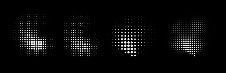 Wall Mural - Set of halftone dots curved gradient pattern texture isolated on white background. Curve dotted spots using halftone circle dot raster texture collection. Vector blot half tone collection.