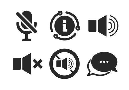 Sound, microphone and mute speaker signs. Chat, info sign. Player control icons. No sound symbol. Classic style speech bubble icon. Vector