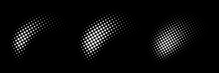 Set of halftone dots curved gradient pattern texture isolated on white background. Curve dotted spots using halftone circle dot raster texture collection. Vector blot half tone collection.