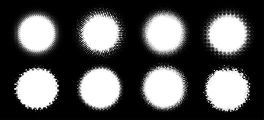 Wall Mural - Halftone circle frame abstract dots logo emblem design element set. Half tone circular icon collection. Grunge round border using halftone circle dots raster texture. Vector illustration.