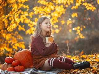 Little cute girl sitting in the autumn forest on ripe pumpkins. Autumn mood. Thanksgiving Holiday Concept.