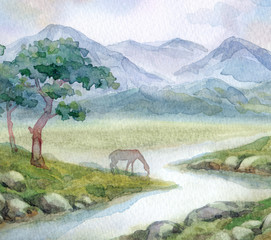 Watercolor landscape. A horse drinks from a mountain stream
