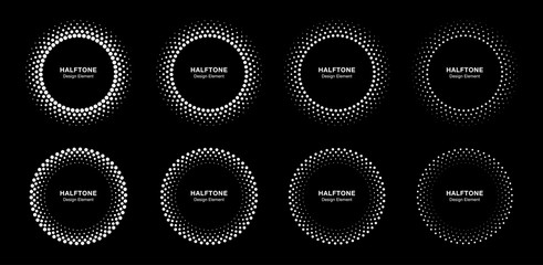 Wall Mural - Halftone vector circular dotted frames set. Circle dots isolated on the black background. Logo design element for medical, treatment, cosmetic. Round border using halftone circle dots texture.
