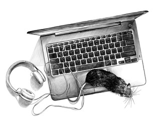 a mouse crawling on the computer Desk with a laptop and headphones view from above, sketch vector graphics monochrome illustration on white background