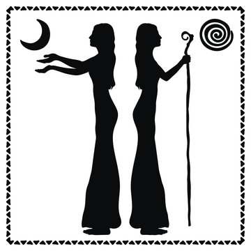 Two women. Silhouette. A woman with a staff, stick. A woman with outstretched arms. Goddess of the moon and goddess of the sun. Vector illustration