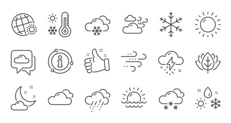 Weather and forecast line icons. Cloudy sky, winter snowflake, thermometer. Moon night, rain and sunset icons. Weather temperature, meteorology forecast. Linear set. Quality line set. Vector Wall mural