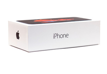 NEW YORK - OCT 27: Box of the Apple iPhone isolated on white Background in NY on October 27. 2019 in USA