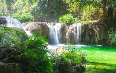 Beautiful nature scenic landscape fresh green waterfall in deep tropical jungle rain forest,...
