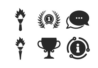 Laurel wreath sign. Chat, info sign. First place award cup icons. Torch fire flame symbol. Prize for winner. Classic style speech bubble icon. Vector