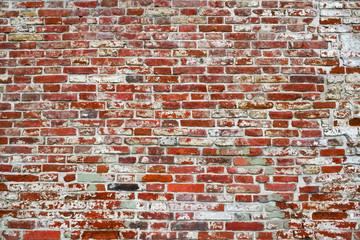 17th century brickwork texture. Red brick wall.
