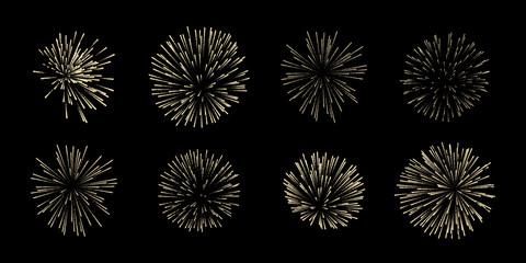 Obraz Vector set of eight fireworks isolated on black background. - fototapety do salonu