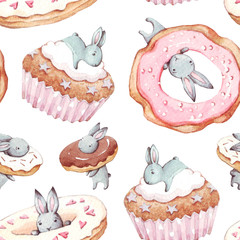 Hand drawn background. Watercolor seamless pattern with sweet rabbits, birthday cake, cupcake and donut. Cute Bunny.  Celebration and birthday concept. Children party.