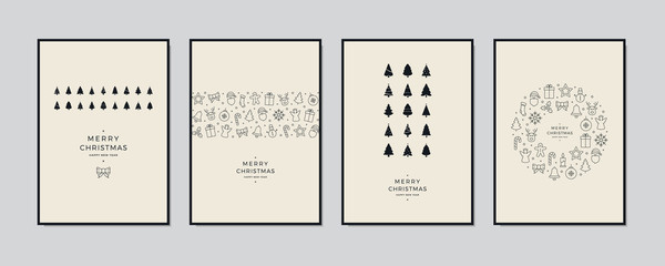 Wall Mural - Merry Christmas greeting card text lettering set beige background vector.