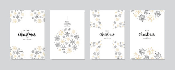 Wall Mural - Christmas snowflakes elements ornaments greeting card set on white background