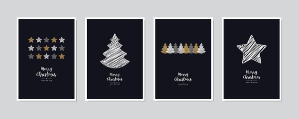 Wall Mural - Merry Christmas greeting card set text lettering blue background vector.