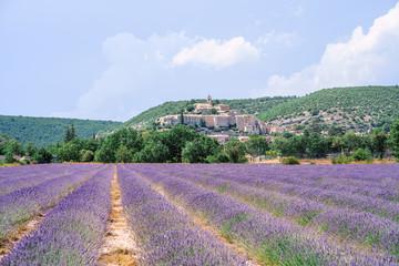 Tuinposter Lavendel Vue panoramique sur le village de Banon, Alpes de Haute Provence, France. Champ de lavande au premier plan.