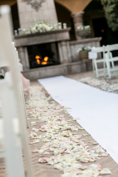 wedding aisle runner with fireplace