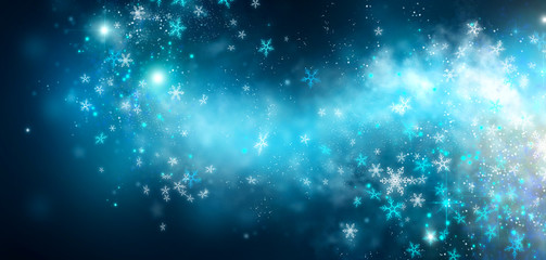 Winter Christmas and New Year glittering snow flakes swirl on black bokeh background, backdrop with...