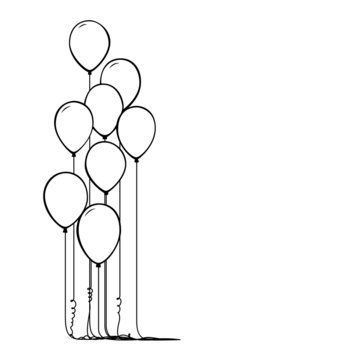 Vector illustration of line balloons isolated on white background.