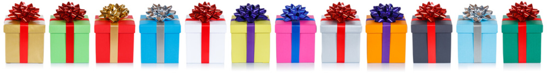 Group of christmas presents birthday gifts in a row isolated on white