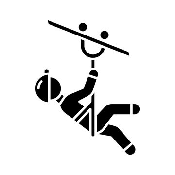 Zip line glyph icon. Canopy tour. Person with pulley on cable. Wire descend. Man sliding down rope. Extreme sport. Silhouette symbol. Negative space. Vector isolated illustration