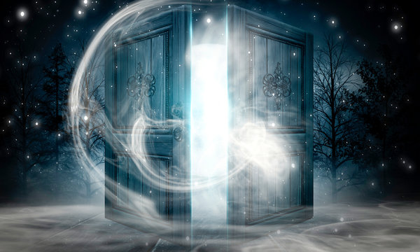 Open doors. Abstract light. Night view, magic fantasy, smoke, smog, neon. Dark forest. Abstract dark background. Old wooden doors.