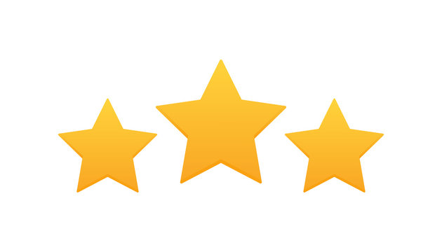 Three stars customer product rating review. Modern flat style vector illustration