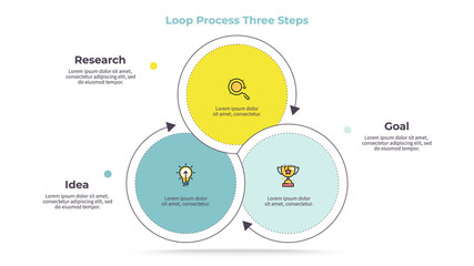 Business infographics. Circle with 3 parts, steps. Vector template.