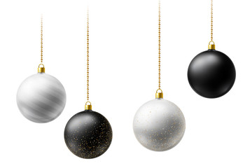 Realistic black and white Christmas balls hanging on gold beads chains on white background