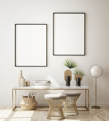 mock up poster frames in modern interior background, living room, Scandinavian style, 3D render, 3D illustration