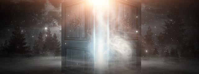 Fotomurales - Open doors. Abstract light. Night view, magic fantasy, smoke, smog, neon. Dark forest. Abstract dark background. Old wooden doors.