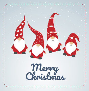Christmas card with seasons greetings, cute little Christmas gnomes in red hats dancing - vector illustration