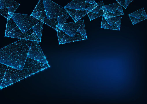 Futuristic glowing low polygonal mail envelopes and copy space for text on dark blue background.