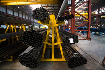 Plant for the production of metal pipes. Stack of steel pipes